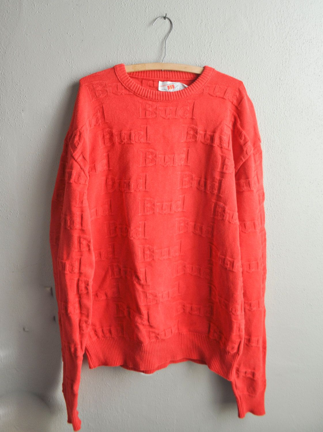 Vintage 80s Bud 3D Embossed Red Knit Sweater Bud Beer Promo ...