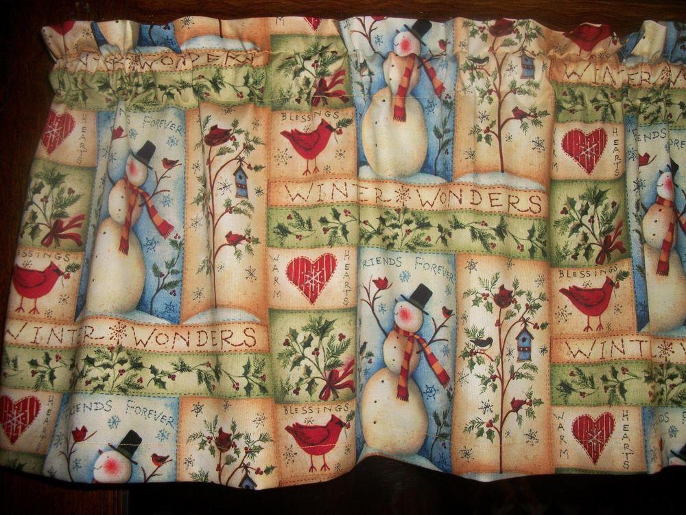 Folk Art Snowman Cardinal Chiristmas Birdhouse Kitchen Fabric Curtain  Valance #Handmade