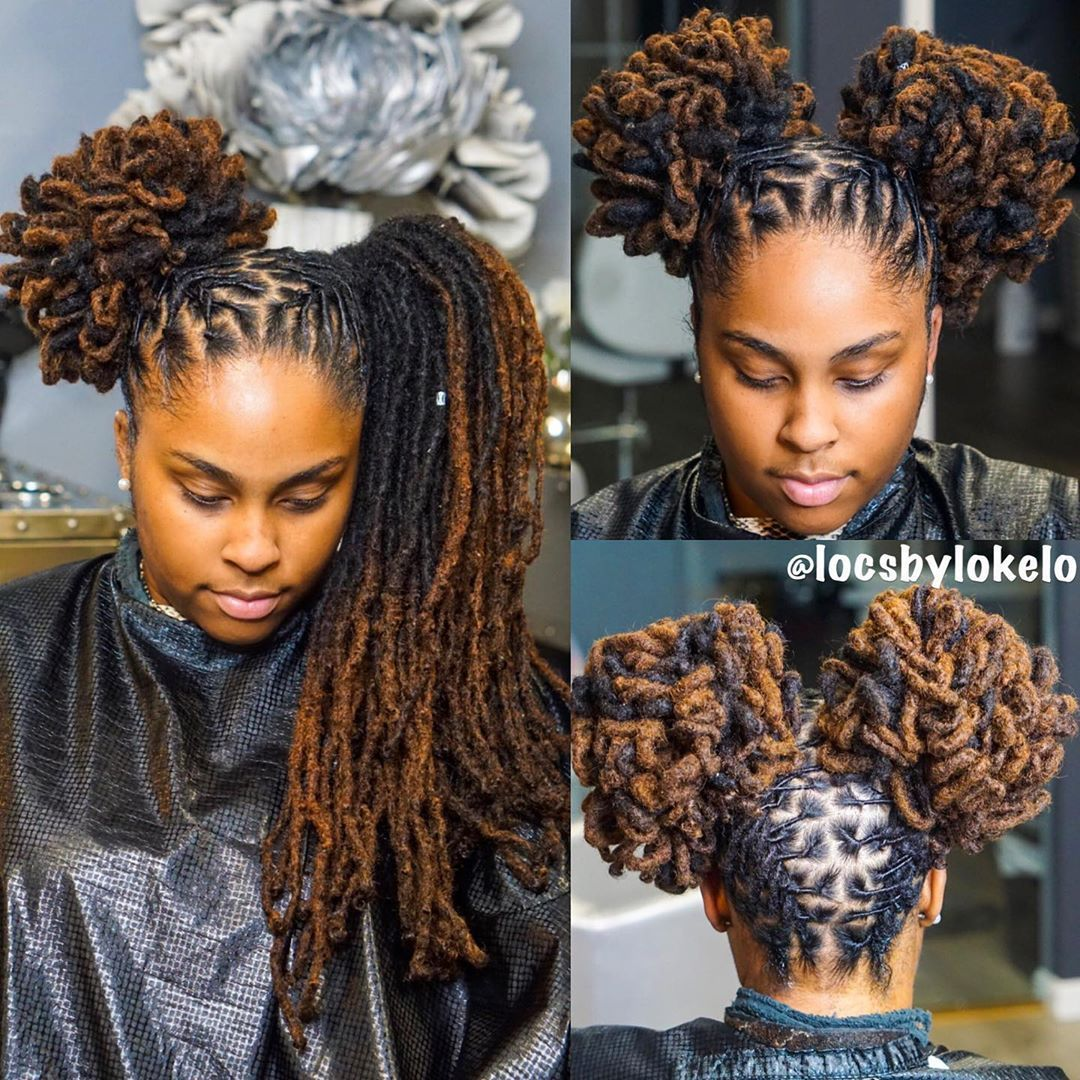 Kingoflocs On Instagram Surprised Keish Meish With 2 Buns She Thought Her Hair Was To Long In 2020 Locs Hairstyles Natural Hair Styles Dreadlock Hairstyles Black