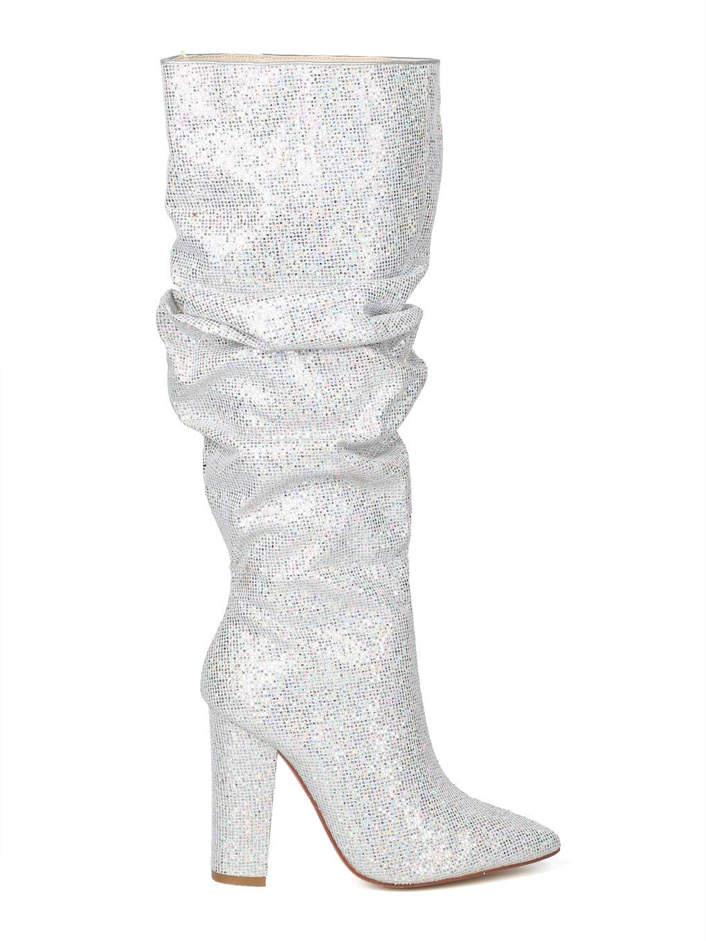 cd7e31cfb1a Alrisco Women Glitter Knee High Pointy Toe Block Heel Slouchy Boot IA29  Cape Robbin Silver Size  8.0    Click image to review more details.