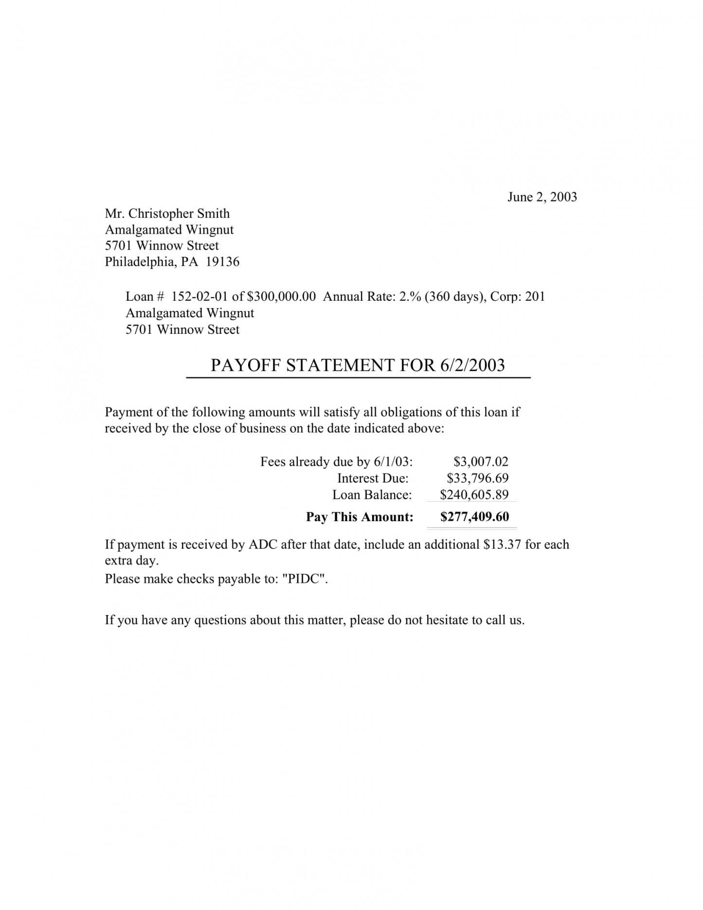 Explore Our Example Of Va Loan Statement Of Service Template For Free Payoff Letter Business Letter Template Letter Template