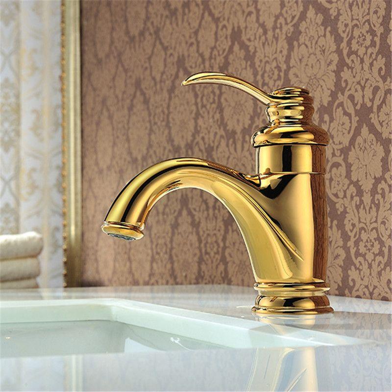 Golden Faucets Bathroom Kitchen Basin Sink Mixer Tap Noble Gorgeous ...