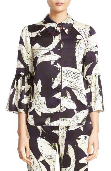 c7a1625671305c ERDEM Aran Koi Print Silk Pajama Top. #erdem #cloth # Bell Sleeve Blouse