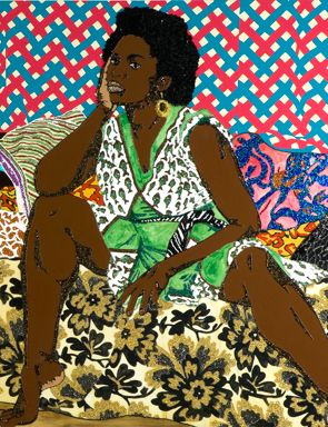 Mickalene Thomas, Baby I Am Ready Now, 2007 (detail). Rhinestone, acrylic, and enamel on wooden panel, 72 x 132 inches. Rubell Family Collection, Miami.