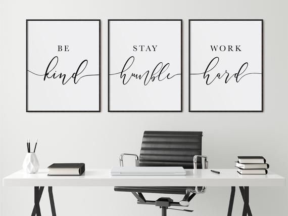 Be Kind Stay Humble Work Hard Positive Motivational Set of | Etsy
