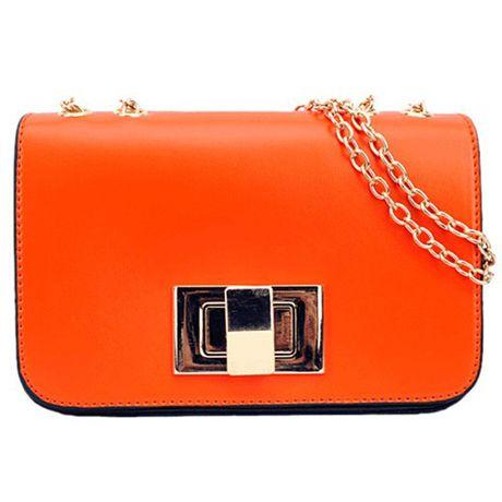 Zipper Cross Buckle Design Chains Belt Orange PU Shoulder Bag