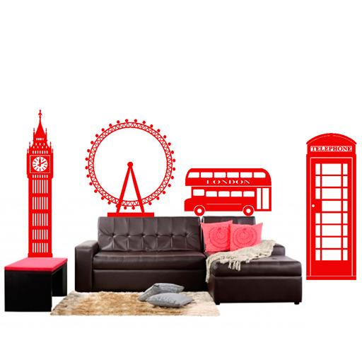 Set de vinilos decorativos de los monumentos representativos de Londres: el Big Ben, el Ojo de Londres, el autobús rojo de dos plantas y la cabina de teléfono.