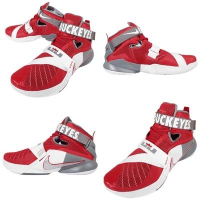 NIKE LEBRON SOLDIER 9 OHIO STATE BASKETBALL RED METALLIC SILVER WHITE  749490 601