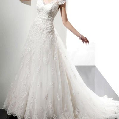 Wedding dress, lace appliqued a line wedding dress
