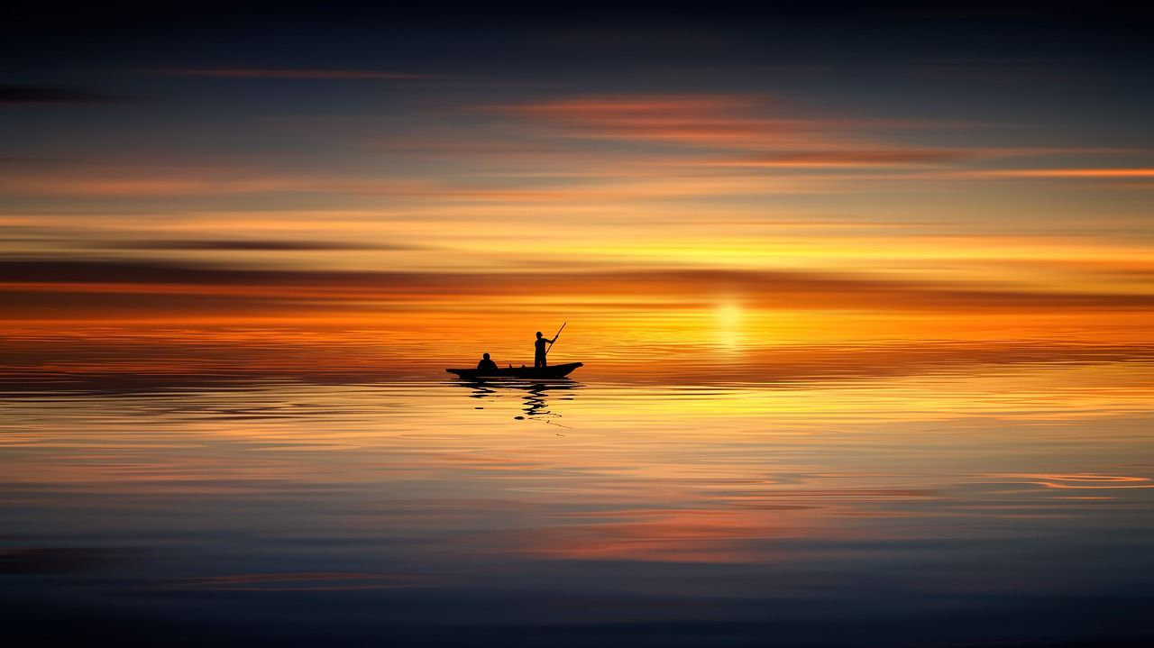 Boat Sunset Lake Horizon Calm Red Sky Red Sunset Afterglow Water Sky Shore Evening Sun Dusk 4k Wallpap Sunset Wallpaper Red Sky Nature Background