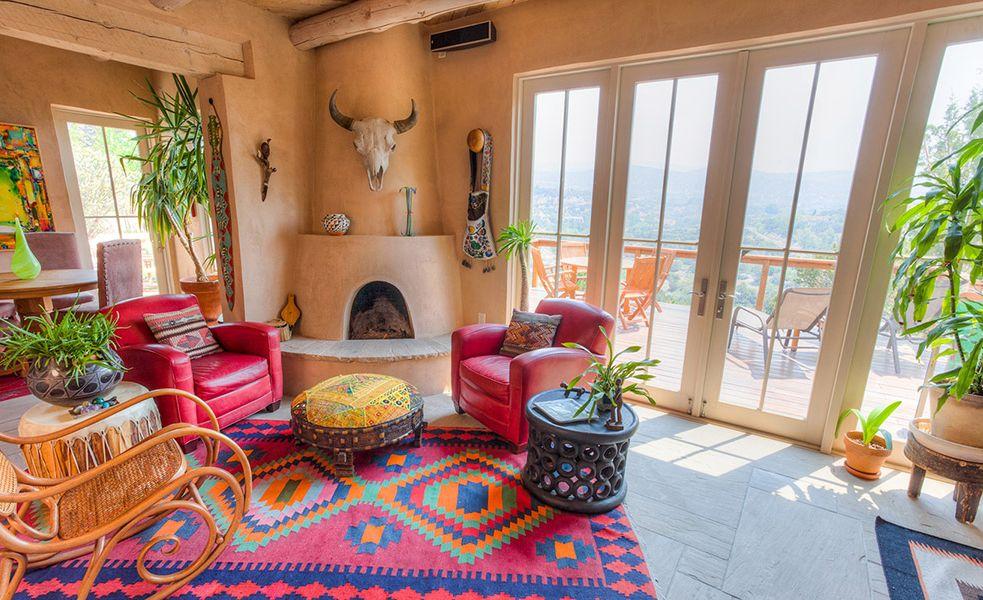 Santa Fe Adobe Pueblo Home Mesquite Fireplace Western Home Decor Southwest Home Decor Southwestern Home Decor