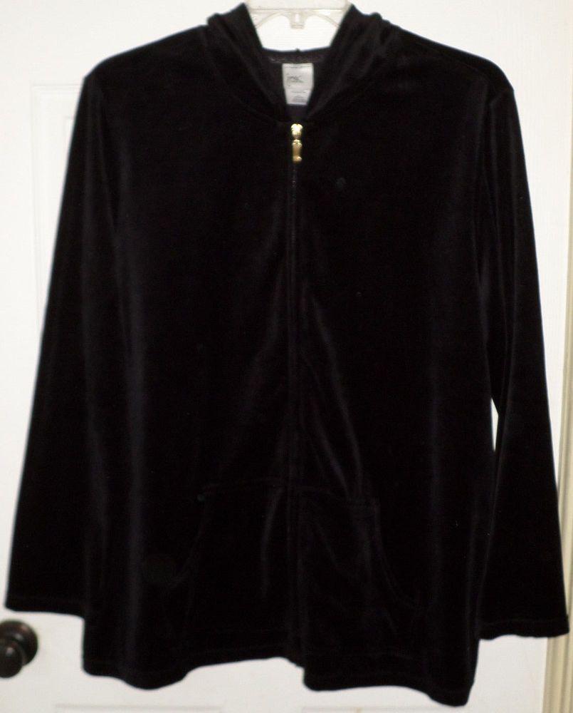 e37fcd246f6 JMS Just My Size Black Velour Hoodie Jacket Full Zip Womens Plus Size 3x 22  24w  JustMySize  Hoodie  ThePlusSide