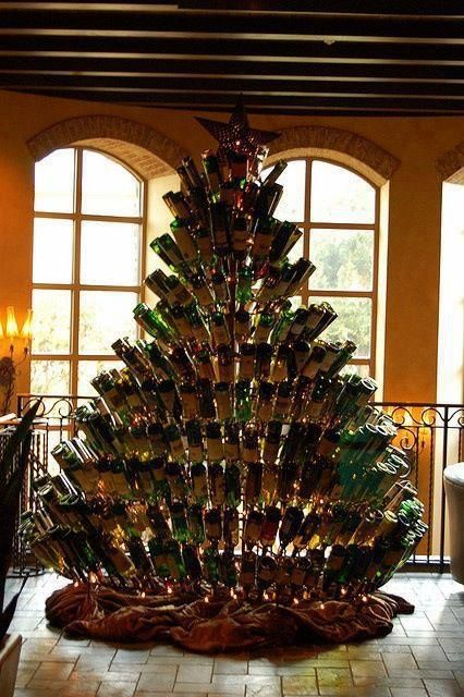 Wine Bottle xmas tree I am so doing this So let\u0027s think of some