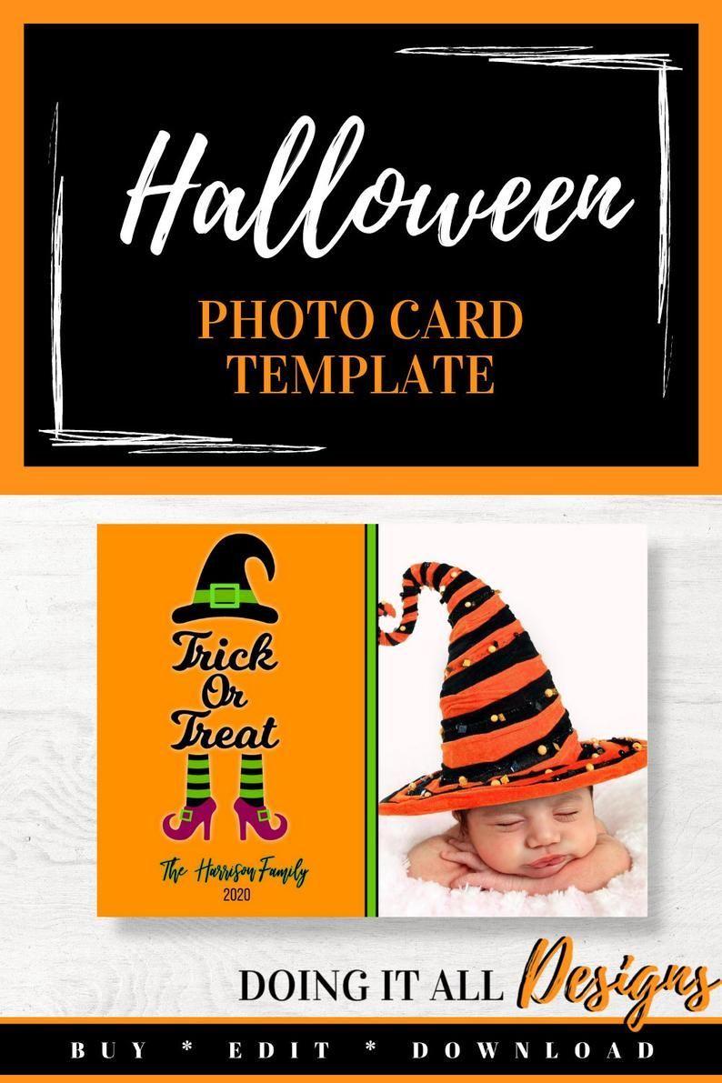 Halloween Photo Card 1st Halloween Card Template First Halloween Girl Happy Halloween Card Edita Halloween Photo Cards Halloween Cards Halloween Photos