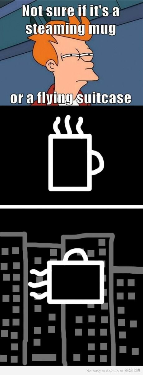 steaming mug or flying suitcase