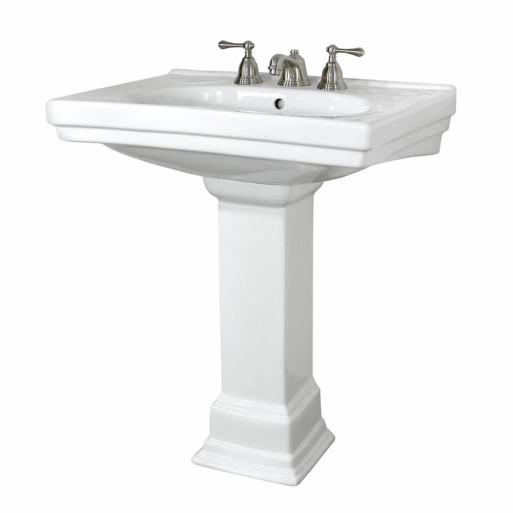 Foremost Structure Vitreous China Pedestal Bathroom Basin Combo In White Fl 1950 4wh The Home Depot 28 25 Width Pedestal Sink Bathroom Basin Pedestal