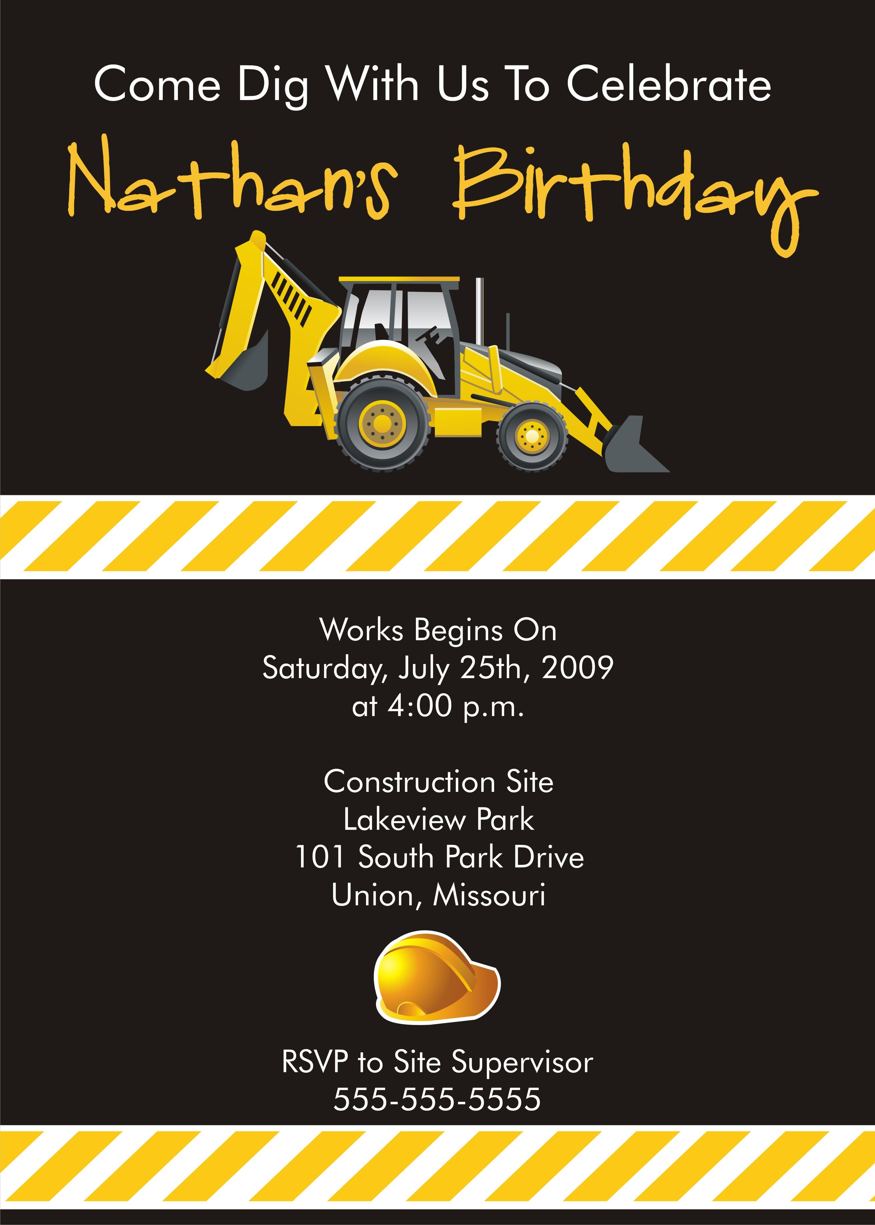 Construction Invitations Gallery Photos | Jacks 3rd bday ideas ...