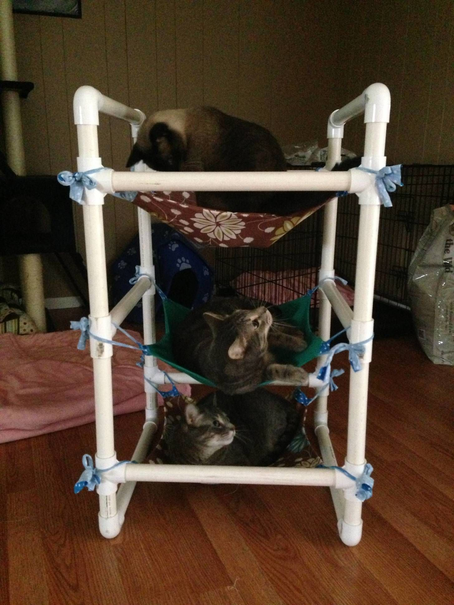 I Made A 3 Tier Cat Hammock From Some Scraps It S Been Accepted