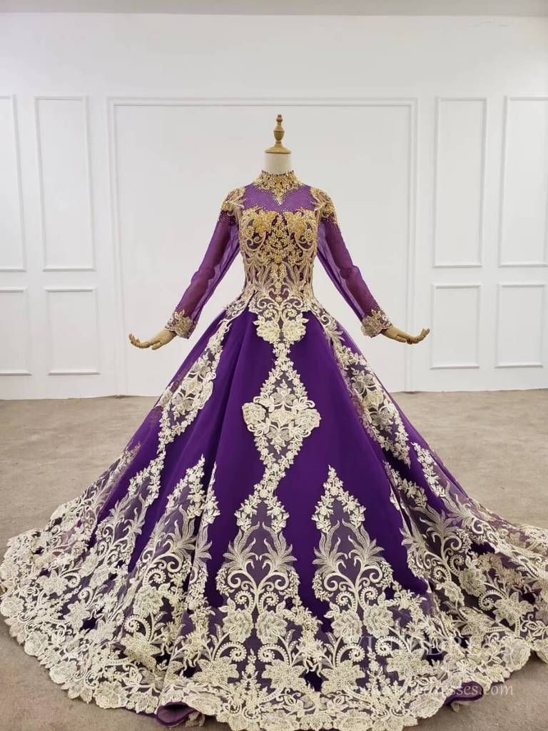 Vintage Deep Purple Ball Gown High Neck Gold Lace Muslim Formal Dress Fd2165 In 2021 High Neck Long Sleeve Wedding Dress Purple Ball Gown Dark Purple Ball Gown [ 1024 x 768 Pixel ]