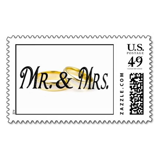 Mr and Mrs Wedding Rings Postage Stamps InvitesprogramsTy notes