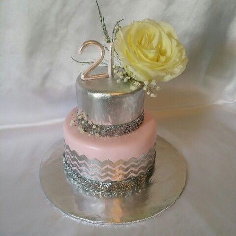 Strange Pretty Pink And Silver 21St Birthday Cake With Images 21St Funny Birthday Cards Online Amentibdeldamsfinfo