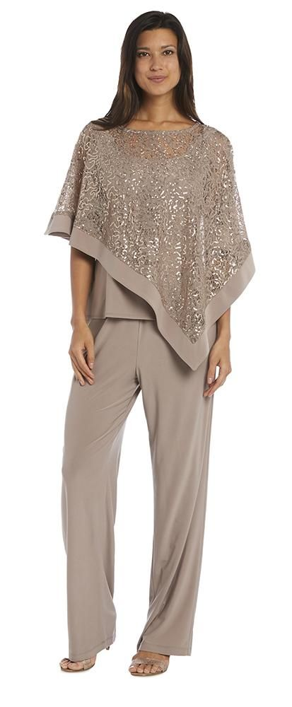 5712a6da430 Glam up your evenings while staying cool with this poncho pant suit.  Featuring a sheer sparkling angled poncho with an attached tank liner