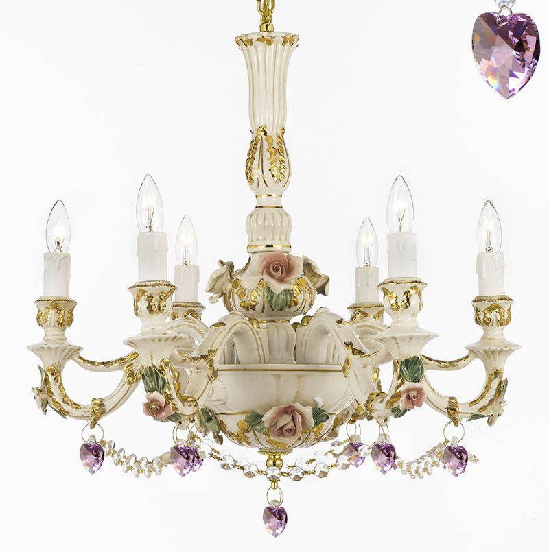 Authentic Capodimonte Porcelain Chandelier Cottage Chic Made In Italy Good For Dining Room Kids S Bedrooms Gold Trimmed W Roses Flowers Dressed