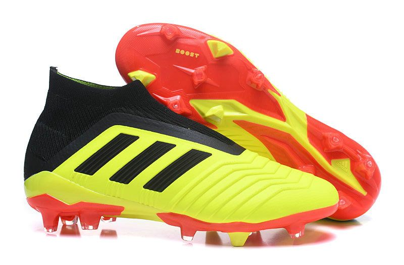buy online f74d2 172b5 Cheap Adidas Unisex Predator 18+ FG 2018 Word Cup Boots High Top Soccer  Cleats Lemon Yellow Blood Red Black