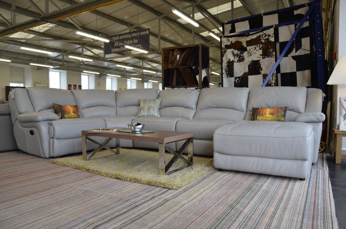 Charmant Corner Suites : Ronson Grey Leather Corner Suite Power Recliners