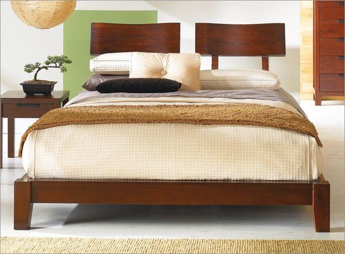 Japanese Inspired Wood Platform Zen Edo Bed U0026 Headboard   Choose Optional  Pieces