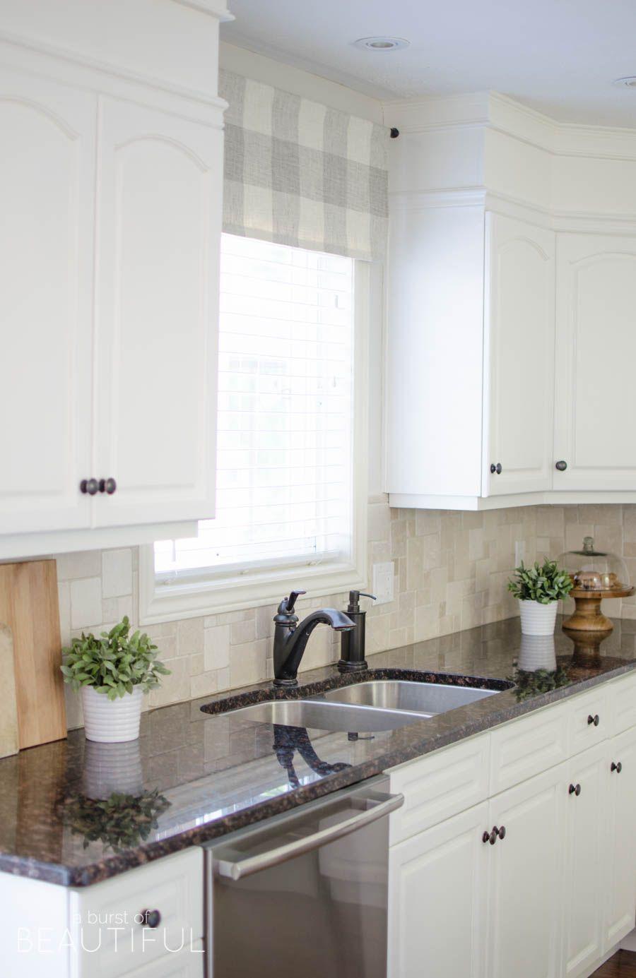 Farmhouse Kitchen Window Valance Tutorial | Buffalo check fabric ...