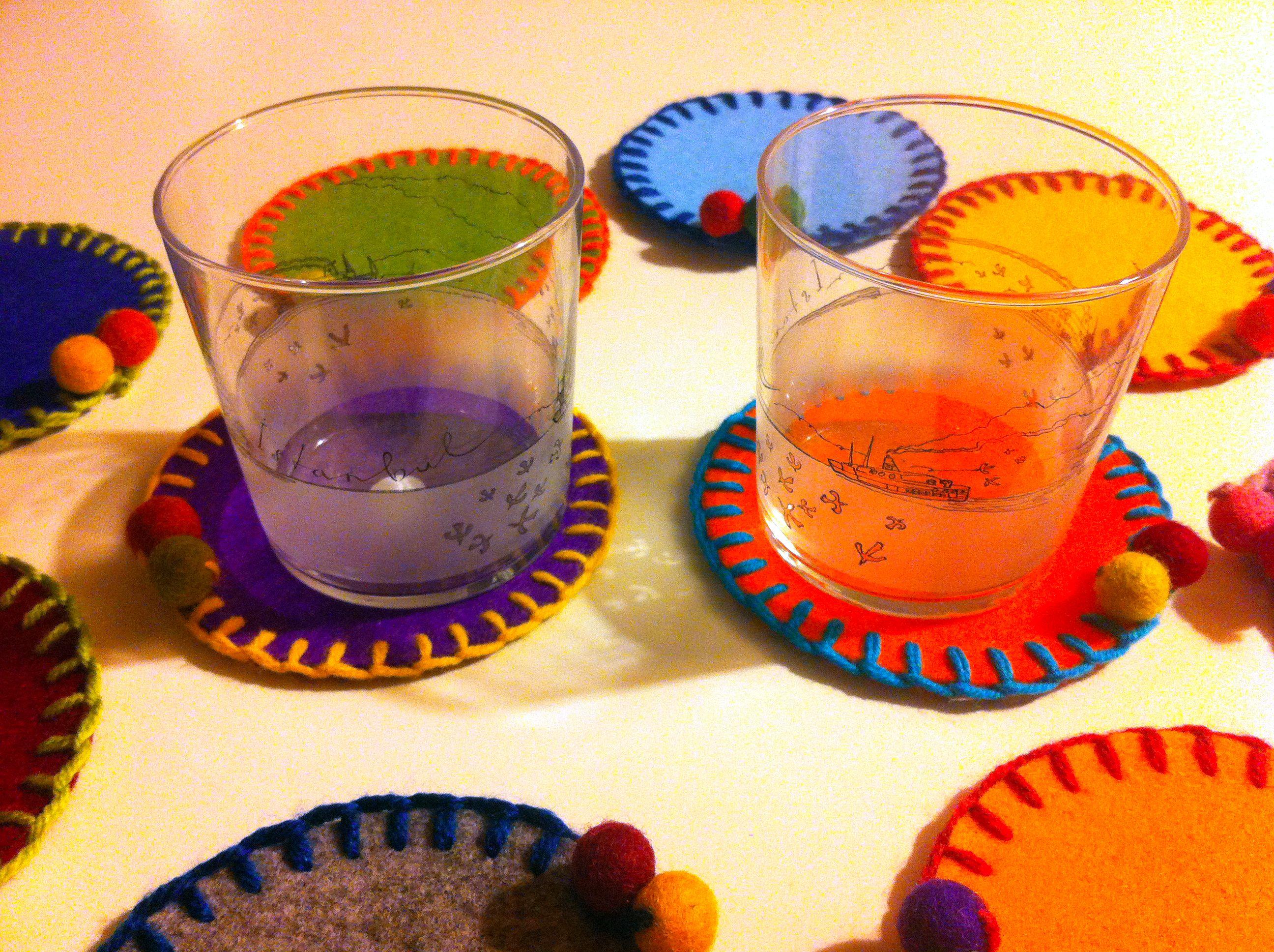 keçe bardak altlığı felt glass mat