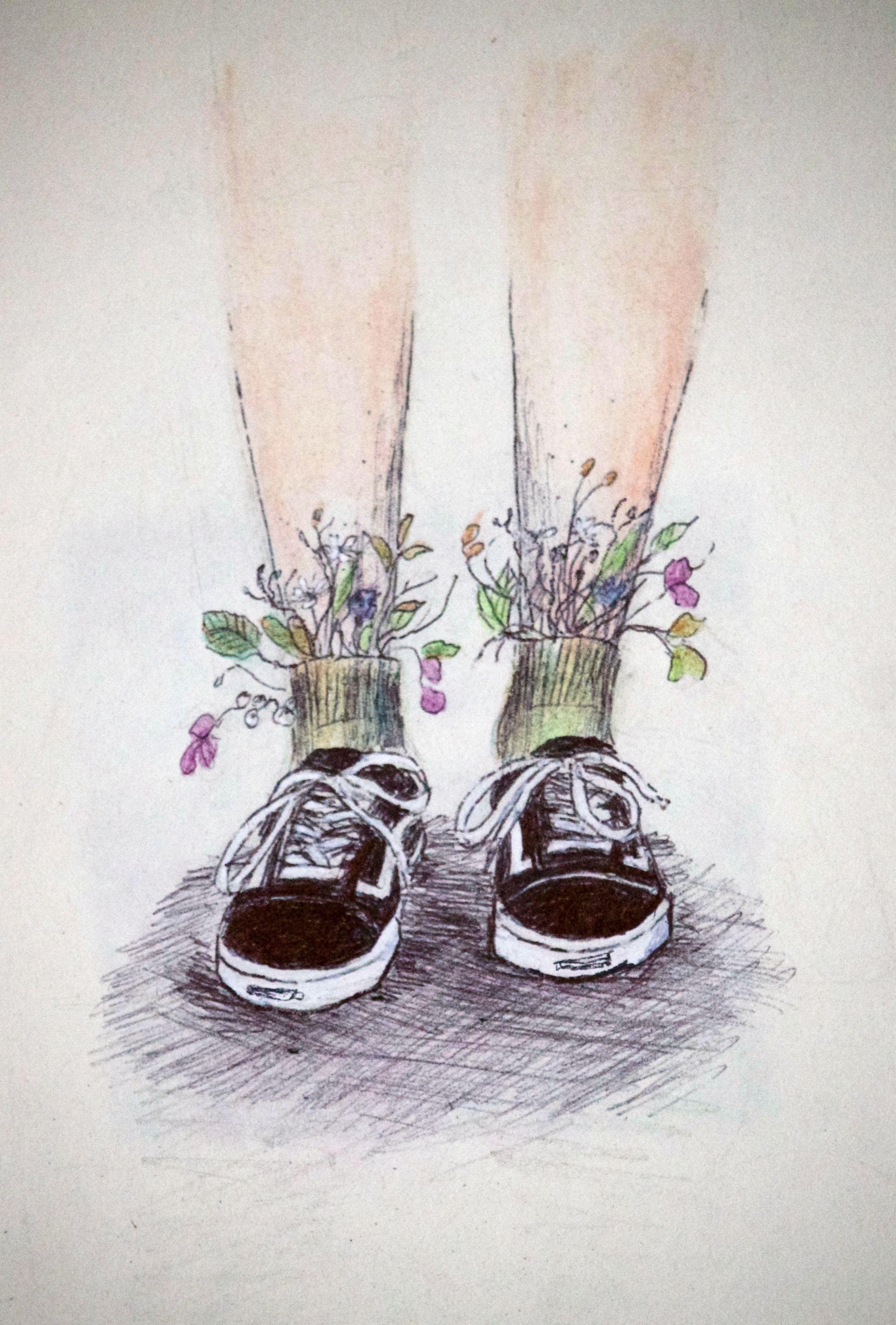 Kwiatki W Butach Drawings Art Art Inspo