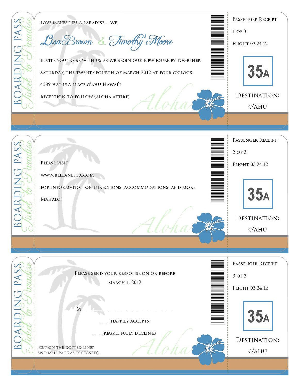 Printable Boarding Pass - travel information, invitation, save the ...
