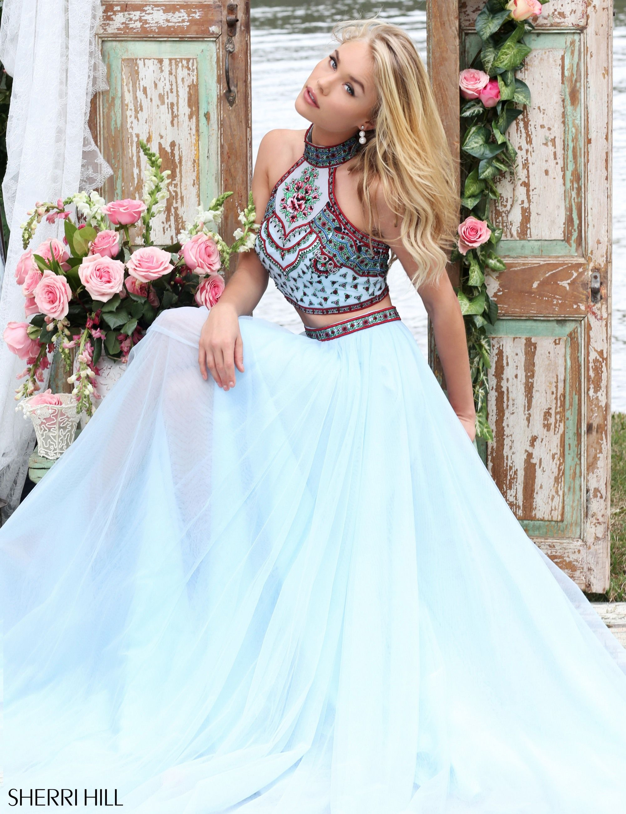 ec42f3e8ce599 Utah Prom Dresses Ypsilon Dresses 2-piece Sherri Hill Blue Dress Halter top