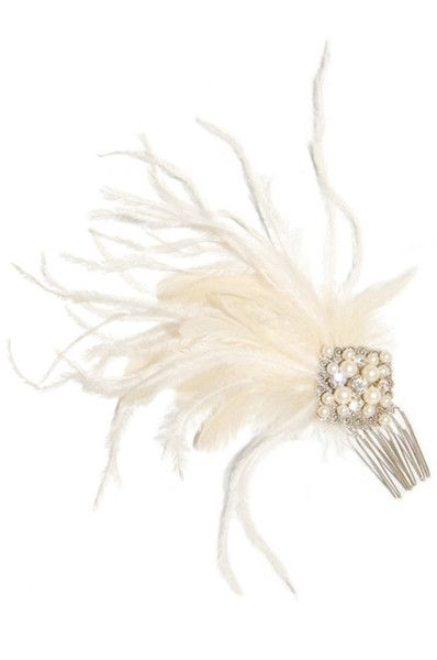 Stasia Comb - Filigree diamond with Swarovski crystals and pearls paired with an ostrich feather poof