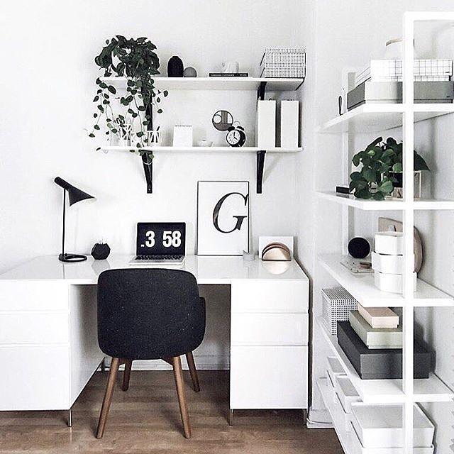 White workspace with West Elm desk + chair   via @workspacegoals on