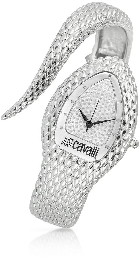 a68c8cff3ed42e Just Cavalli Poison - Silver Serpent Bracelet Watch