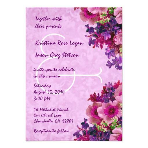 Purple Wedding Ideas With Pretty Details: Vintage Pink And Purple Flowers Wedding R509 Invitation