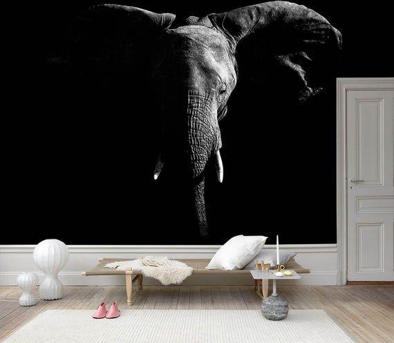 3d Sketch Elephant Black Background Wallpaper Mural Peel And Etsy In 2021 Black Background Wallpaper Mural Wallpaper Wall Murals