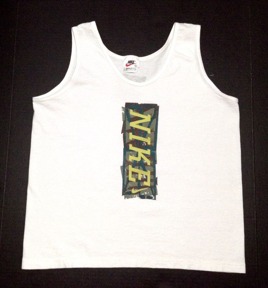 Details zu Nike Mens Grey Black Vest Retro Big Logo Sports Gym Sleeveless Tank Top L XL