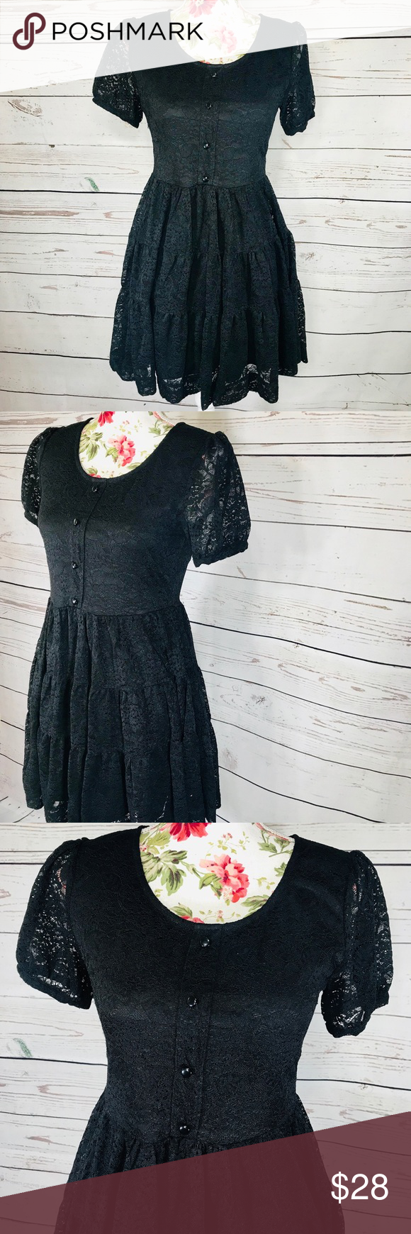 Vintage Feel Measeor Goth Size M Black Lace Dress Lace Dress Black Lace Dress Dresses [ 1740 x 580 Pixel ]