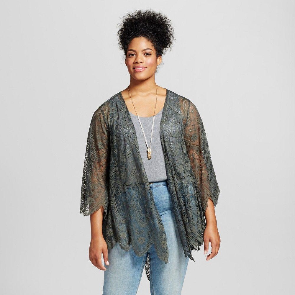 Womenus plus size lace kimono xhilaration olive x green