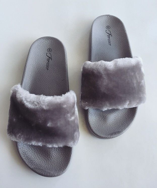 296a817c69f Baddie Fur Slides- Gray | ~Wish list~ | Fur slides, Faux fur slides ...