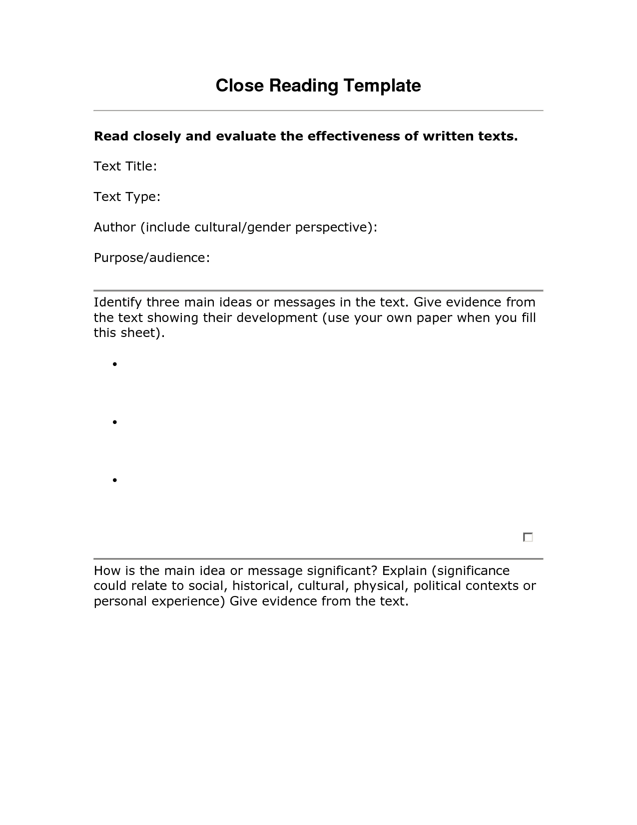 close reading examples close reading template school pinterest