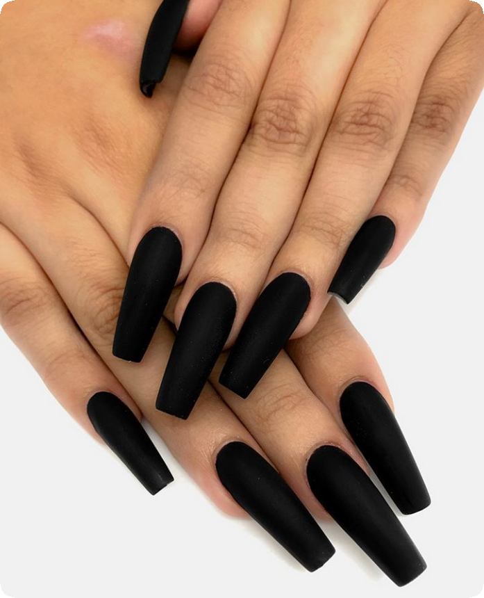 20 Best Matte Black Coffin Nails Design Ideas To Try This Year Babemar Vogue Matte Nails Design Almond Nails Designs Black Coffin Nails