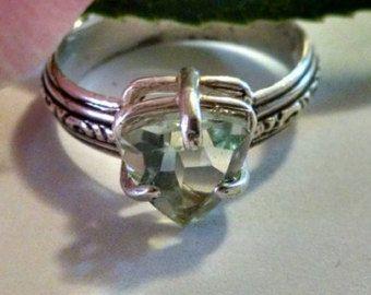 Verde amatista Prasiolite esterlina plata tamaño billones 7 anillo joyería hecha a mano única menta Pastel suave declaración compromiso para ella