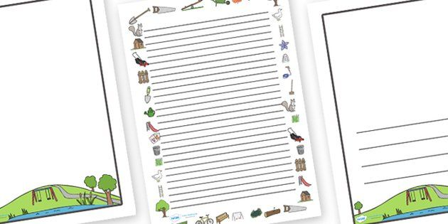 Park Page Borders - park, garden, seed, page border, border - printable writing paper with border