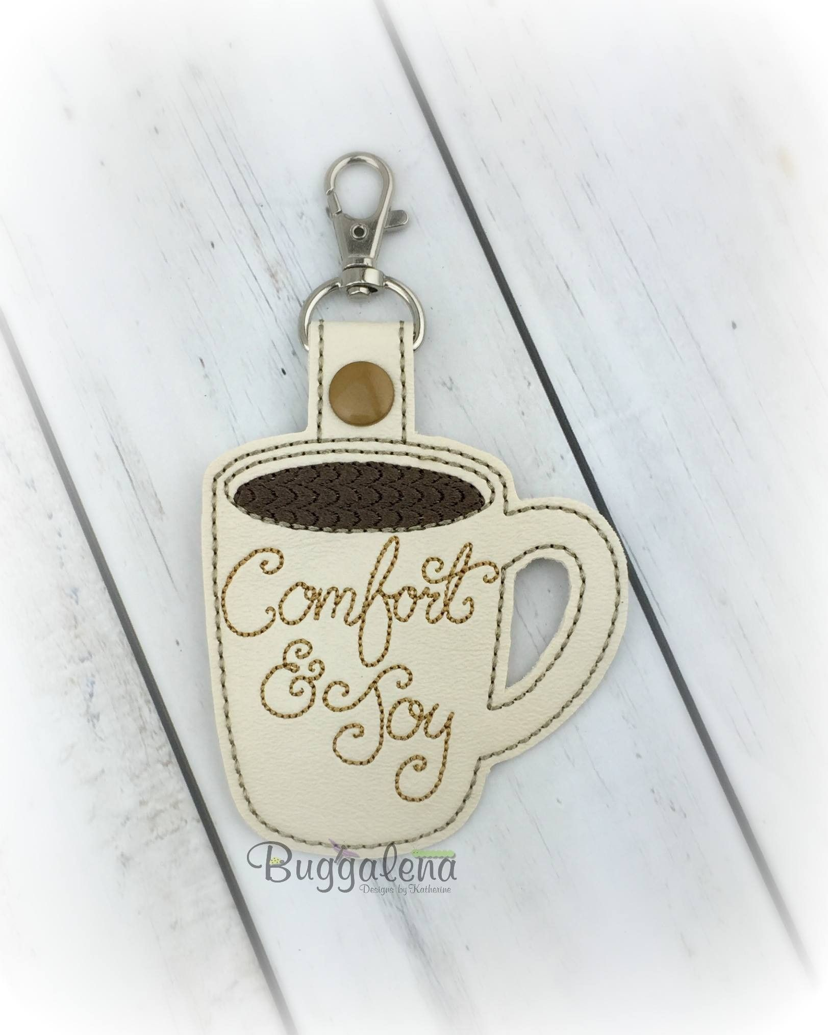 Comfort and Joy COFFEE Snap Tab Key Fob Embroidery Design