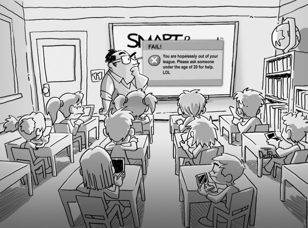 """ET cartoon, Peter DeTina. This cartoon speaks to the importance of teaching youth how to navigate in this technology driven world. """"...we must provide students with a rich array of learning experiences required for robust cognitive development... not only language but visual modalities provided through technology and the visual arts in order to most fully develop an individual's maximum, whole-minded potential."""" (Groff, 2013, pg. 13)."""